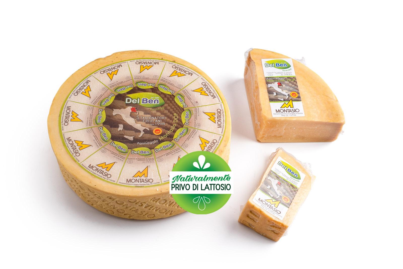 Formaggio - senza lattosio - Montasio stravecchio - DOP PN casello 208 - Del Ben formaggi